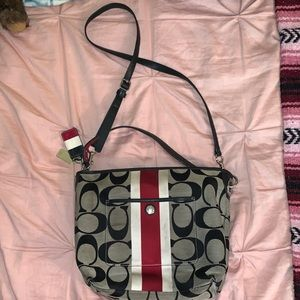 Authentic Coach Red White Stripe Monogram Purse